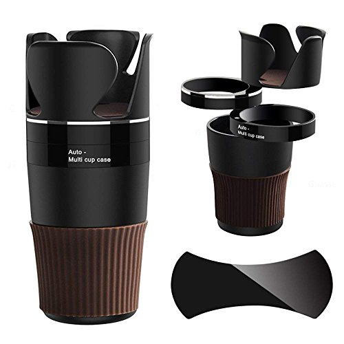 Xultrashine Car Cup Holder, 5 in 1 Multi-Functional Holds Mugs Organizer,Adjustable Car Cup Holder with Drink Phone Holder and Little Stuff Storage Cup, Black.