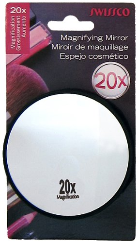 - Swissco suction cup mirror. 20x magnification, 3 1/2'' diameter Colors May Vary