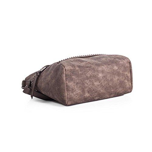 LOIS - Damen Handtasche mit doppelten Griff und Riemen aus Kunstleder Whitney, Color Taupe Taupe