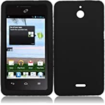 LF Black Silicon Skin Case Cover, Lf Stylus Pen and Wiper For TracFone, StraightTalk, Net 10 Huawei Ascend Plus H881C