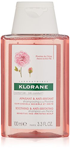 Klorane Shampoo with Peony, Soothing Relief for Dry Itchy Flaky Sensitive Scalp, pH Balanced, Provides Scalp Comfort, 3.3 oz.