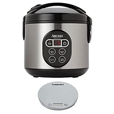 Aroma 8-Cup Digital Rice Cooker and Food Steamer with Digital Kitchen Scale
