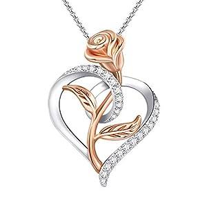 Collier fleur rose pour femme – Colliers d'amour en forme de coeur Pendentif en or rose avec boîte-cadeau de bijoux…