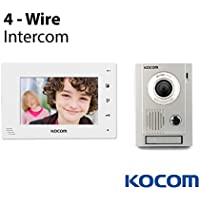 Kocom Kit: KC-MC30 Video Door Intercom Camera & KCV-D374-W 7 Monitor 4 Wire System, 3.6mm Camera Lens, White LED At Night, Surface Mount, 4 wire system