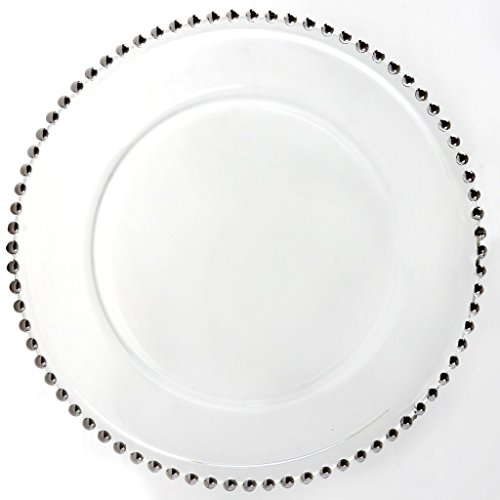 BalsaCircle 8 pcs 12-Inch Clear Glass Charger Plates with Silver Beaded Rim Dinner Chargers Wedding Party Supplies for Holidays
