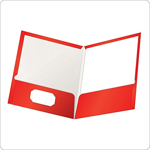 Oxford Laminated Twin-Pocket Folders, Letter Size, Red, Holds 100 Sheets, Box of 25 (51711EE)