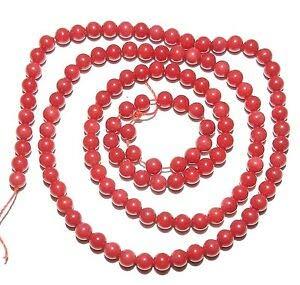 (CRL193 Dark Red 2mm - 3mm Round Bamboo Coral Gemstone Beads 16