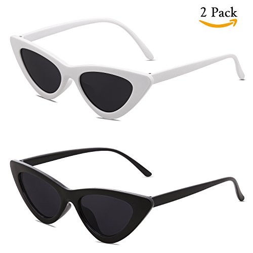 Vintage Retro Fashion (SOJOS Clout Goggles Cat Eye Sunglasses Vintage Mod Style Retro Kurt Cobain Sunglasses SJ2044 with Black Frame/Grey Lens + White Frame/Grey Lens 2 Pairs of Sunglasses)