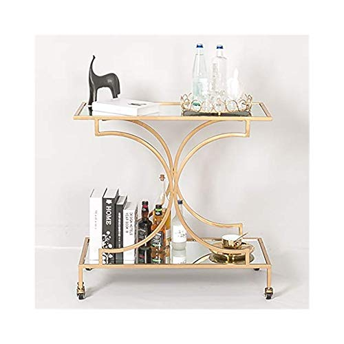 Aluminum Serving Cart - Metal Tempered Glass Rolling Kitchen Bathroom Trolley Car with Wheels LEBAO (Size : 75 x 38 x 75cm)