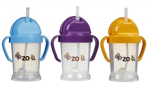 Zoli Baby BOT Straw Sippy Cup 6 oz - 3 Pack, Blue/Purple/Orange