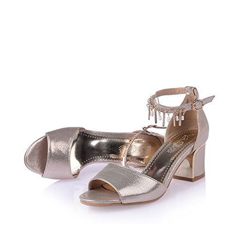 Toe Solid Open Kitten Women's Gold Sandals Microfiber Heels Buckle WeenFashion CXw6xqx