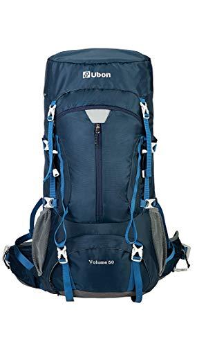Ubon 50L Hiking Backpack Framed Backpacking Backpacks for Men Women Youth Navy