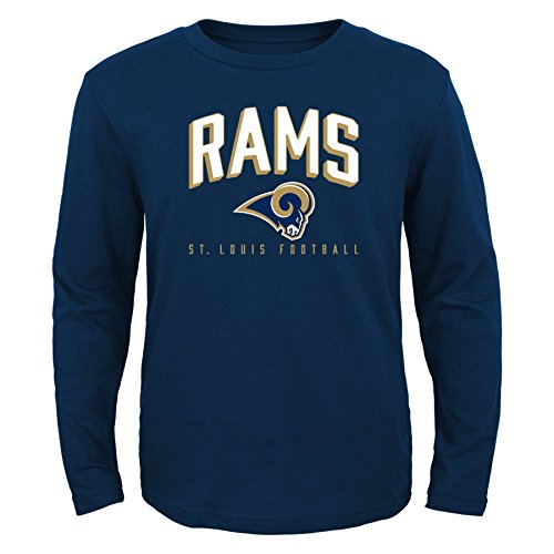 OuterStuff NFL St. Louis Rams Boys 8-20 Arched Standard Long Sleeve Tee, Navy, (Louis Rams Long Sleeve)