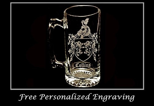 Collins Irish Family Coat of Arms 27oz Beer Stein: Free Shipping & Personalized Engraving, Family Crest, Etched Clan Crest