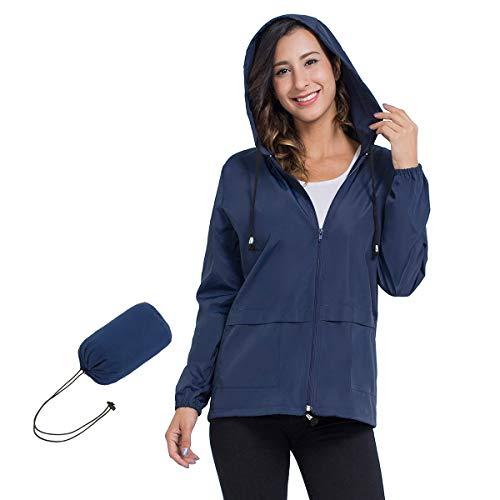 Women Rain Jacket Hooded, Zipper Waterproof Active Outdoor Windbreaker Raincoats Lightweight L Navy Blue