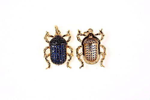 (GOODBEAD Sapphire Blue & Black CZ Cubic Zirconia Micro Pave Scarab Beetle Pendant with Jump Ring  DIY Necklace, Choker 24x16mm)