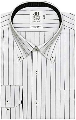 ブリックハウス ワイシャツ 長袖 形態安定 ボタンダウン 綿100% スリム メンズ BM019507AA11B4A-14