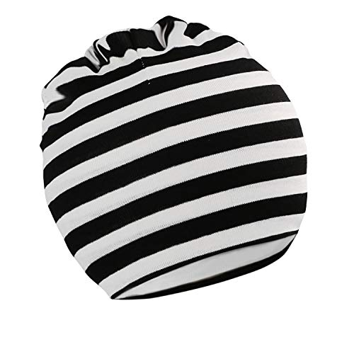 (Kaariss Toddler Infant Baby Soft Cute Knit Kids Hat Beanies Cap, Black and White Stripe)