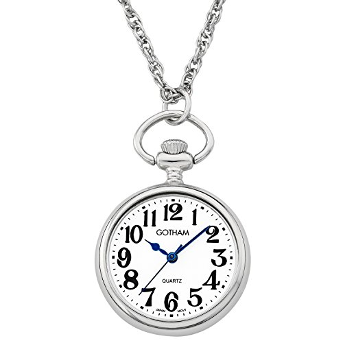 Gotham Women's Silver-Tone Open Face Pendant Watch With Chain # GWC14135SA from Gotham