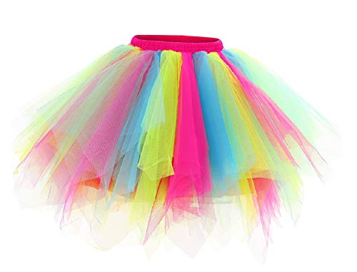 Kileyi Womens Tutu Costume Adult Party Dance Tulle Skirt Short Fluffy Petticoat Rainbow M
