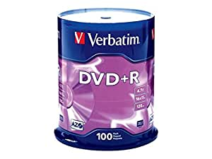 Verbatim 4.7GB up to16x Branded Recordable Disc DVD+R 100 Disc Spindle 95098