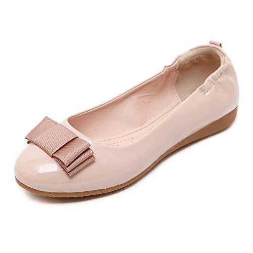 fereshte Ladies Women's Comfy Slip On Work School Dolly Pumps Ballet Flats Shoes 631Apricot