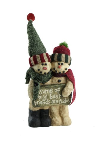 Craft Outlet Papier Mache Two Snowmen with Sign Figurine, 8.5-Inch