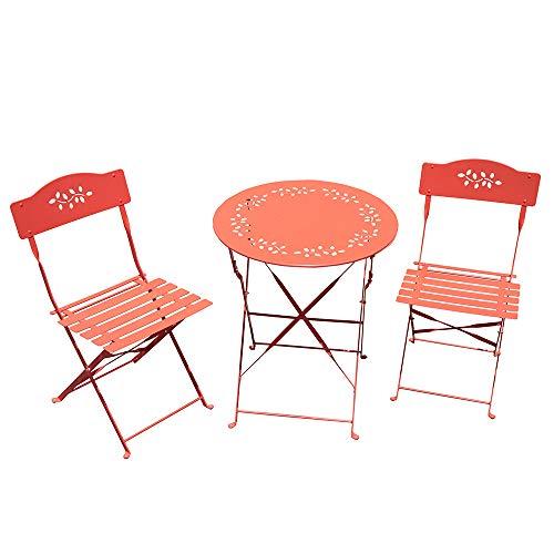SUNSITT 3 Piece Patio Bistro Set Folding Outdoor Furniture Set Patio Table and Chairs Steel Frame - Orange