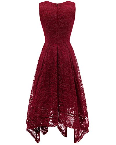 Brautjungfernkleider Dark unregelmäßig Elegant Damen Spitzenkleid Cocktail Red bridesmay 7BYqaXX