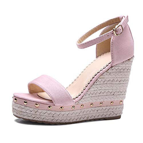 Wobuoke Womens 2019 Open Toe Wedges Thick Bottom Straps Buckle Shoes Roman High Heel Wedge Sandals Pink ()