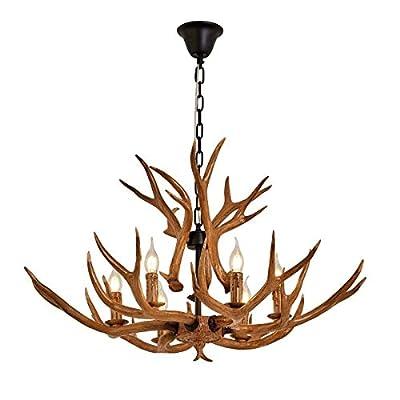 Chandelier Antler Ceiling Light Vintage Style Chandelier, Resin Pendant Light Chandelier with 6 Spiral Lamp Holder of E12, Indoor Decorative Twig Lights