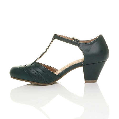 Womens Ladies mid Low Block Heel t-Bar Brogue Comfort Rubber Sole Court Shoes Sandals Size Dark Teal Green Matte usWez9xd3