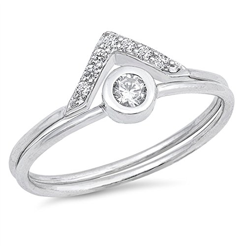 White CZ Pointed Wedding Ring Set New .925 Sterling Silver Eye Band Size 5 by Sac Silver