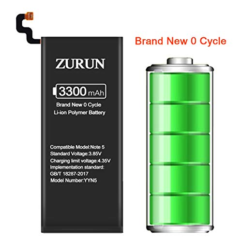 Galaxy Note 5 Battery ZURUN 3300mAh Li-Polymer Battery EB-BN920ABE Replacement for Samsung Galaxy Note 5 N920 N920V N920A N920T N920P with Screwdriver Tool Kit [2 Year Warranty]