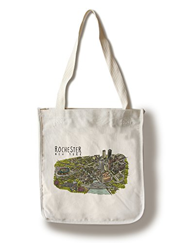 Rochester, New York - Line Drawing (100% Cotton Tote Bag - - New Shopping Rochester York