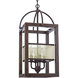 """Revel/Kira Home Raven 23"""" 4-Light Transitional Foyer Lantern Cage Chandelier, Metal Frame Wood Style Finish"""