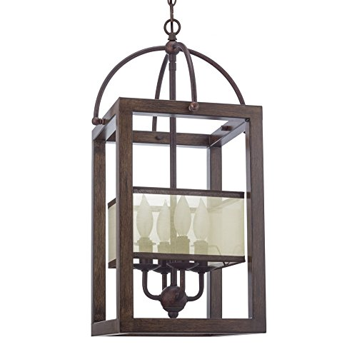 Revel/Kira Home Raven 23″ 4-Light Transitional Foyer Lantern Cage Chandelier, Metal Frame Wood Style Finish