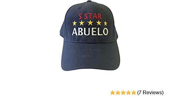 734e086f56f G4FF - 5 Star ABUELO - Grandpa in Spanish - Embroidered Hats for Men Gift  for Birthdays Father s Day Constructed Navy Blue Adjustable Baseball Hat at  Amazon ...