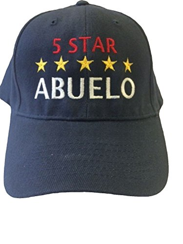 Hat In Spanish (G4FF - 5 Star ABUELO - Grandpa in Spanish - Embroidered Hats for Men Gift for Birthdays Father's Day Constructed Navy Blue Adjustable Baseball Hat)