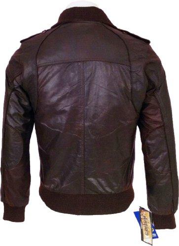 UNICORN Hommes Réel en cuir Veste lavé Brun #F6