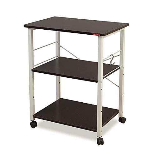 Mr IRONSTONE 3-Tier Kitchen Baker's Rack Utility Microwave Oven Stand Storage Cart Workstation Shelf, Black ()
