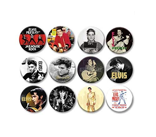 Lot of 12 1.25 inch Pinback Buttons Elvis Presley