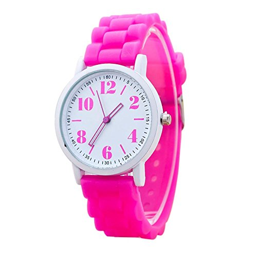 Women Sport Watch Silicone Bands Arab Number Stainless Steel Dial Analog Quartz Wristwatch (Pink)
