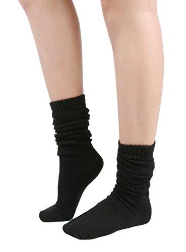 Women's Fall Winter Slouch Knit Socks (Basic Cotton Knit_Rib_Black)