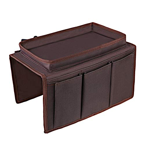 OOTSR Non-Slip Sofa Chair Organizer Holder, Couch TV Remote Storage Organizer with Pockets for Recliner Armchair Snacks Glasses Smartphone Magazines iPad