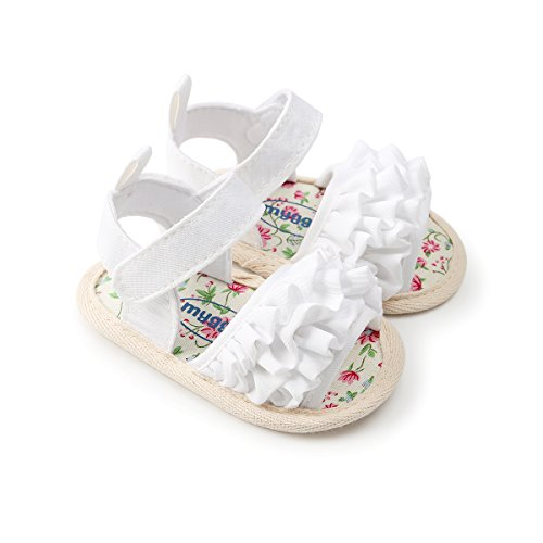 Image of Kuner Baby Girls Cotton Bowknot Flowers Non-Slip Outdoor Toddler Summer Sandals First Walkers Shoes