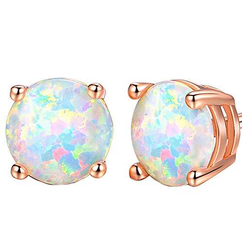 18K Rose Gold Plated Small Round Opal Stud Earrings, women stud earrings girl 0.24''