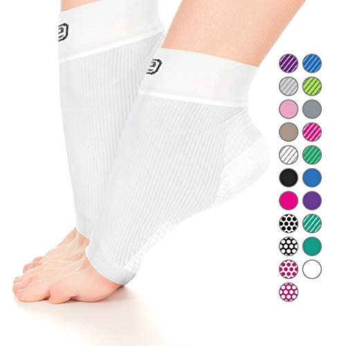 Go2 Ankle Brace Compression Socks for Plantar Fasciitis – Arch Support Joint Foot Pain Relief (2p Solid White,M)