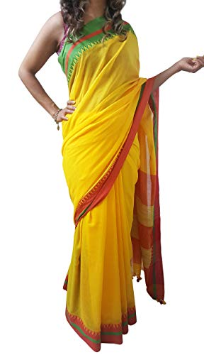 Mehrunnisa Handloom Pure Cotton Sarees Blouse Piece from Bengal (Yellow)