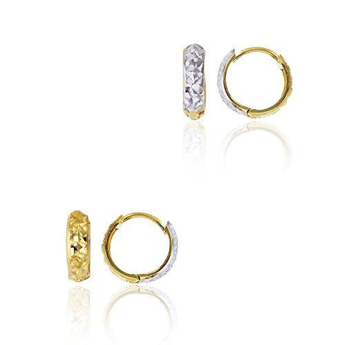 14K Two-Tone Gold Reversible Diamond Cut 3.00x10.00mm Huggie Earring